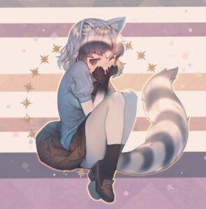 Rating: Safe Score: 17 Tags: animal_ears common_raccoon heels kemono_friends mifu_(b24vc1) pantyhose skirt_lift tail User: Mr_GT