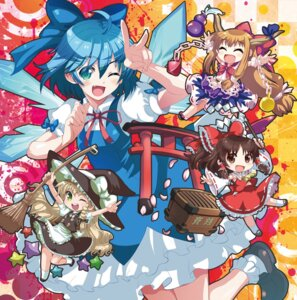 Rating: Safe Score: 7 Tags: cirno hakurei_reimu ibuki_suika jpeg_artifacts kirisame_marisa shike_naoto touhou User: Mr_GT