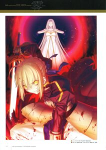 Rating: Questionable Score: 17 Tags: armor blood fate/stay_night fate/zero irisviel_von_einzbern saber saber_alter sword takeuchi_takashi type-moon User: fireattack