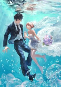 Rating: Safe Score: 20 Tags: business_suit cleavage dress heels kougami_shinya psycho-pass tsunemori_akane tuta wedding_dress wet User: charunetra