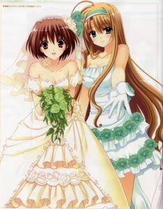 Rating: Questionable Score: 35 Tags: bleed_through cleavage daiba_minato dress marriage_royale nishimata_aoi suzuhira_hiro umeda_minami wedding_dress User: Share