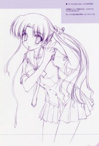Rating: Safe Score: 12 Tags: ef_~a_fairytale_of_the_two~ hayama_mizuki monochrome nanao_naru seifuku sketch User: admin2