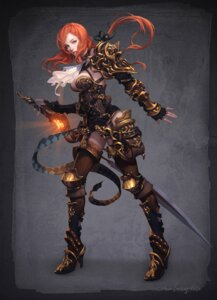 Rating: Safe Score: 33 Tags: armor cleavage jpeg_artifacts lange sword thighhighs User: Radioactive