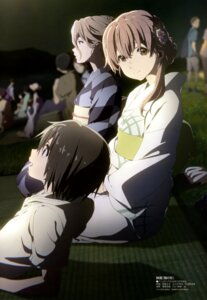 Rating: Safe Score: 93 Tags: koe_no_katachi nishimiya_shouko nishimiya_yaeko nishimiya_yuzuru nishiya_futoshi yukata User: drop