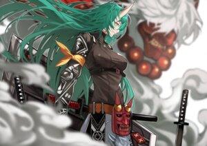 Rating: Safe Score: 25 Tags: 55level arknights horns hoshiguma_(arknights) sword User: Mr_GT