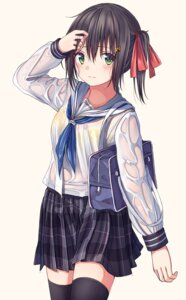 Rating: Questionable Score: 36 Tags: bra enuni see_through seifuku thighhighs wet_clothes User: yanis