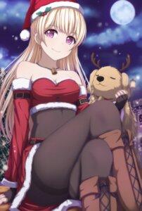Rating: Questionable Score: 92 Tags: bang_dream! christmas cleavage horns narafume pantyhose shirasagi_chisato skirt_lift User: sym455