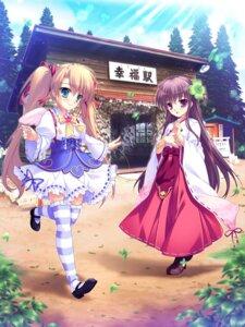 Rating: Safe Score: 18 Tags: dress ekigami heels megumi_(ekigami) mikeou miko miyuki_(ekigami) thighhighs User: saemonnokami