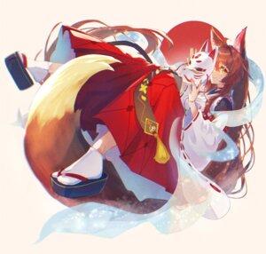 Rating: Safe Score: 11 Tags: animal_ears kitsune miko murechika nijisanji skirt_lift tail User: BattlequeenYume