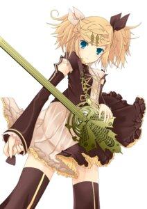 Rating: Safe Score: 24 Tags: dress kagamine_rin meltdown_(vocaloid) natsuki_yuu_(pixiv1164835) thighhighs vocaloid User: Nekotsúh