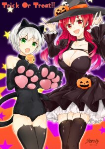 Rating: Questionable Score: 23 Tags: animal_ears cleavage dress halloween kurogane_shizuku leotard nekomimi rakudai_kishi_no_cavalry stella_vermillion stockings tagme tail thighhighs witch User: kiyoe