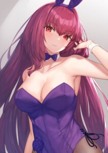 Rating: Questionable Score: 28 Tags: animal_ears bunny_ears bunny_girl fate/grand_order fishnets no_bra pantyhose reuri_(tjux4555) scathach_(fate/grand_order) User: Arsy