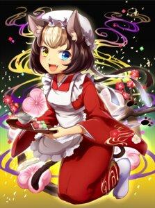 Rating: Safe Score: 26 Tags: animal_ears heterochromia kimono nekomimi pn2_maru tail waitress User: Mr_GT