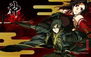 Rating: Safe Score: 16 Tags: armor g_yuusuke kajiri_kamui_kagura kujou_shiori light mibu_soujirou sword wallpaper User: maurospider