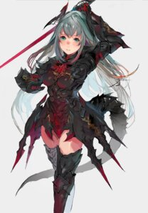 Rating: Safe Score: 32 Tags: armor sword tail thighhighs unkq User: charunetra