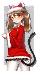 Rating: Questionable Score: 26 Tags: christmas hattori kantai_collection pantyhose ryuujou_(kancolle) tail torn_clothes User: Mr_GT