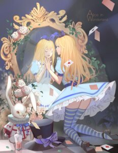 Rating: Safe Score: 34 Tags: alice alice_in_wonderland dress heels iron_(2486886134) thighhighs white_rabbit User: Mr_GT