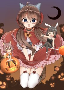 Rating: Safe Score: 36 Tags: animal_ears bunny_ears bunny_girl cleavage cosplay halloween heels little_red_riding_hood_(character) megane pantyhose sekira_ame stockings tail thighhighs User: Spidey