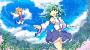 Rating: Safe Score: 26 Tags: cross kochiya_sanae moriya_suwako thighhighs touhou wallpaper User: 椎名深夏