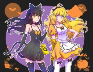 Rating: Safe Score: 15 Tags: blake_belladonna cleavage dress halloween iesupa rwby tail thighhighs yang_xiao_long User: saemonnokami