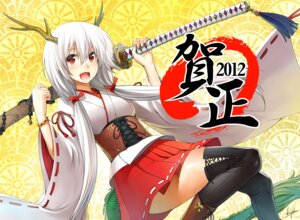 Rating: Safe Score: 23 Tags: kurojishi miko sword thighhighs User: fairyren