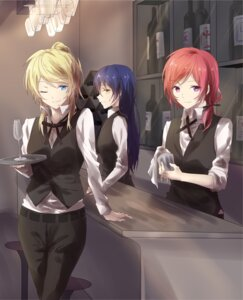 Rating: Safe Score: 18 Tags: ayase_eli love_live! nishikino_maki sonoda_umi waitress walluku User: saemonnokami