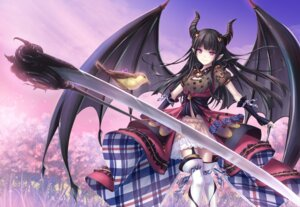 Rating: Safe Score: 49 Tags: horns kanpani_girls pointy_ears stockings tenmaso thighhighs weapon wings User: Mr_GT
