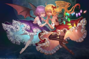 Rating: Safe Score: 26 Tags: ass dress flandre_scarlet no_bra pantsu remilia_scarlet thighhighs touhou wings zhaoyebai User: Mr_GT