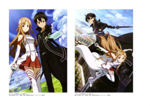 Rating: Safe Score: 29 Tags: armor asuna_(sword_art_online) echigo_mitsutaka kirito sword sword_art_online thighhighs User: drop