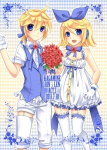 Rating: Safe Score: 10 Tags: dress kagamine_len kagamine_rin stockings thighhighs vocaloid yayoi User: Nekotsúh