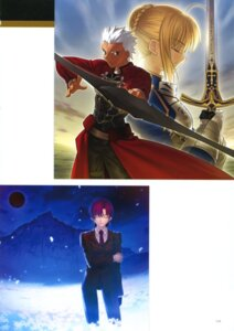 Rating: Safe Score: 5 Tags: archer bazett_fraga_mcremitz fate/stay_night saber sword takeuchi_takashi type-moon User: fireattack