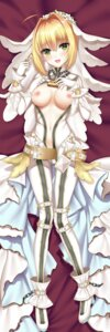 Rating: Explicit Score: 43 Tags: arom_(user_sagn8725) bodysuit breasts dakimakura fate/extra fate/grand_order fate/stay_night heels nipples no_bra nopan open_shirt pussy saber_bride saber_extra User: Mr_GT