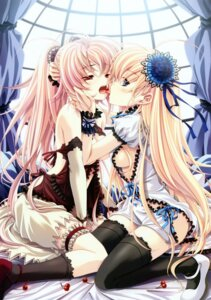 Rating: Questionable Score: 134 Tags: breasts lolita_fashion miyama-zero open_shirt thighhighs yuri User: midzki