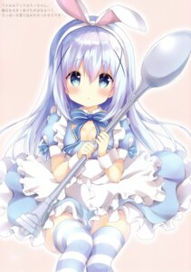 Rating: Safe Score: 17 Tags: amedama_con animal_ears bunny_ears cleavage dress gochuumon_wa_usagi_desu_ka? kafuu_chino skirt_lift thighhighs User: kiyoe