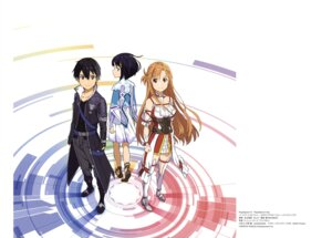 Rating: Questionable Score: 23 Tags: adachi_shingo asuna_(sword_art_online) dress heels kirito premiere sword_art_online thighhighs User: drop