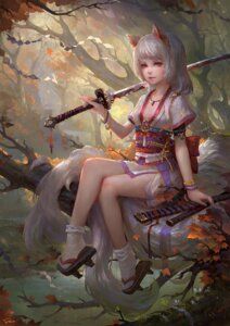Rating: Safe Score: 51 Tags: animal_ears fom japanese_clothes sword User: Aneroph