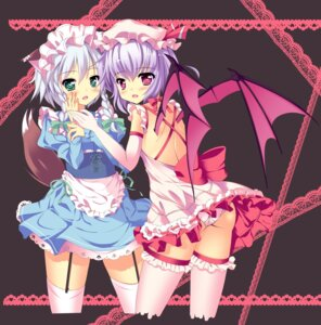 Rating: Questionable Score: 34 Tags: ass izayoi_sakuya natsumiya_yuzu pantsu remilia_scarlet stockings thighhighs touhou wings User: Mr_GT