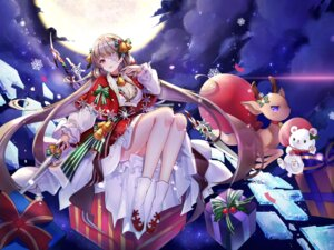 Rating: Questionable Score: 24 Tags: christmas cleavage dress eyepatch skirt_lift sword wenbugu User: sym455