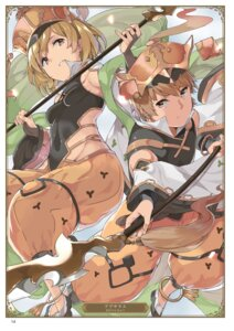 Rating: Safe Score: 5 Tags: djeeta_(granblue_fantasy) gran_(granblue_fantasy) granblue_fantasy mamedenkyuu weapon User: Twinsenzw