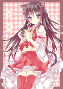 Rating: Safe Score: 56 Tags: animal_ears hakurei_reimu mizumidori nekomimi tail thighhighs touhou valentine User: 椎名深夏