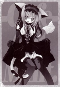 Rating: Questionable Score: 6 Tags: animal_ears kannon_ouji monochrome nekomimi neuromancer. pantsu tail thighhighs User: MirrorMagpie