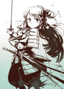 Rating: Safe Score: 23 Tags: armor monochrome pomon_illust sword User: Radioactive