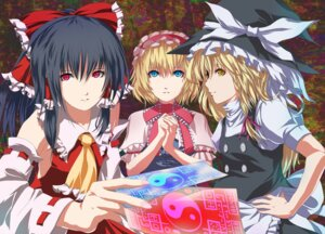 Rating: Safe Score: 11 Tags: alice_margatroid fuji_hyorone hakurei_reimu kirisame_marisa touhou User: konstargirl