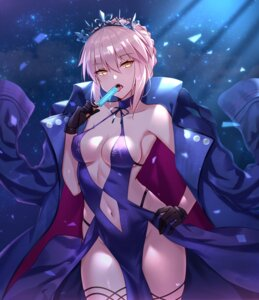 Rating: Safe Score: 60 Tags: black_fire cleavage dress fate/grand_order no_bra saber saber_alter User: Mr_GT