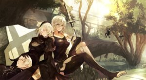 Rating: Safe Score: 51 Tags: cleavage dress mono_(artist) nier_automata pantsu sword thighhighs yorha_no.2_type_b yorha_no._9_type_s yorha_type_a_no._2 User: mash