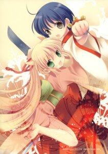 Rating: Safe Score: 19 Tags: akari_(musou_tourou) feet hakkaya kimono miko musou_tourou sakagami_mai sword tokumi_yuiko User: petopeto