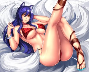 Rating: Questionable Score: 28 Tags: ahri animal_ears bikini cleavage feet heels kitsune league_of_legends swimsuits tail tattoo underboob yashichii User: mash
