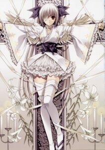 Rating: Questionable Score: 85 Tags: bandages bondage eyepatch lolita_fashion suzuhira_hiro thighhighs wings User: admin2