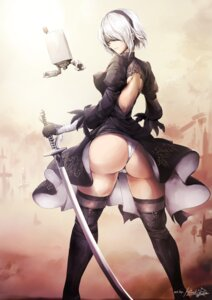 Rating: Safe Score: 69 Tags: ass cameltoe dress erect_nipples hiroki_ree nier_automata no_bra pantsu signed thighhighs yorha_no.2_type_b User: mash