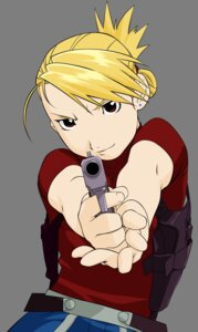 Rating: Safe Score: 4 Tags: fullmetal_alchemist gun riza_hawkeye transparent_png vector_trace User: gohanrice